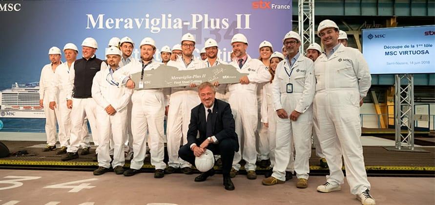 Uroczystość w stoczni STX France w Saint Lazare. Fot.: MCS Cruises