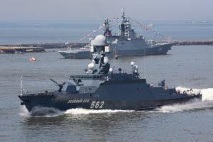 Mały okręt rakietowy Zielionyj Doł typu Bujan-M. Flota Bałtycka ma dwie takie jednostki, do których będą sukcesywnie dołączać podobnie uzbrojone Karakurty. To niewielkie, ale groźne okręty bojowe.